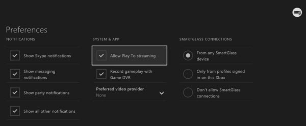 Stream to Xbox One